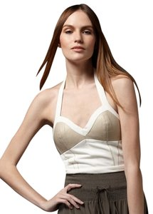 Leifsdottir Halter Bustier Ivory + Taupe Size Medium Leather Ivory, Taupe Halter Top