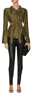 Isabel Marant Belted Cotton Ruffle military green Jacket