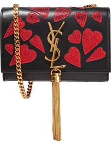 Saint Laurent Ysl Glitter Hearts Valentine Tassels Shoulder Bag