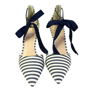 J.Crew Navy Ivory Stripe Pumps