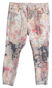 Free People Cotton Floral Straight Leg Jeans-Light Wash
