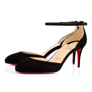 Christian Louboutin Roudnditown Suede Ankle Strap 70mm Black Pumps