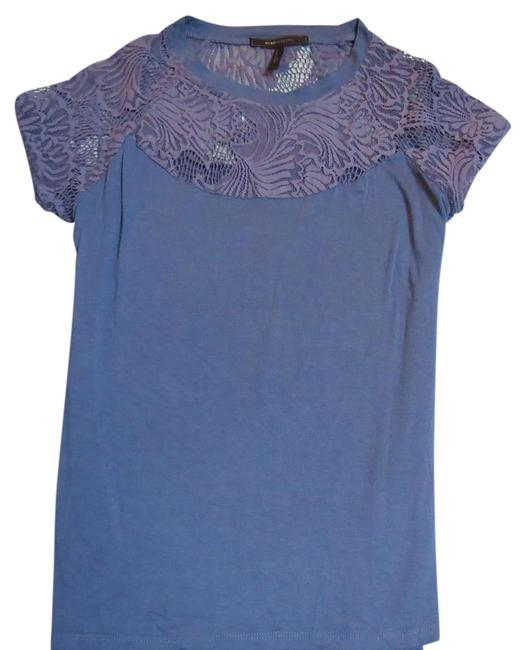 BCBGMAXAZRIA Blue Short Sleeve with Lace Detail. Blouse Size 12 (L) BCBGMAXAZRIA Blue Short Sleeve with Lace Detail. Blouse Size 12 (L) Image 1