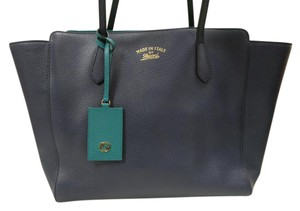 Gucci Leather Swing Gg Tote in Blue