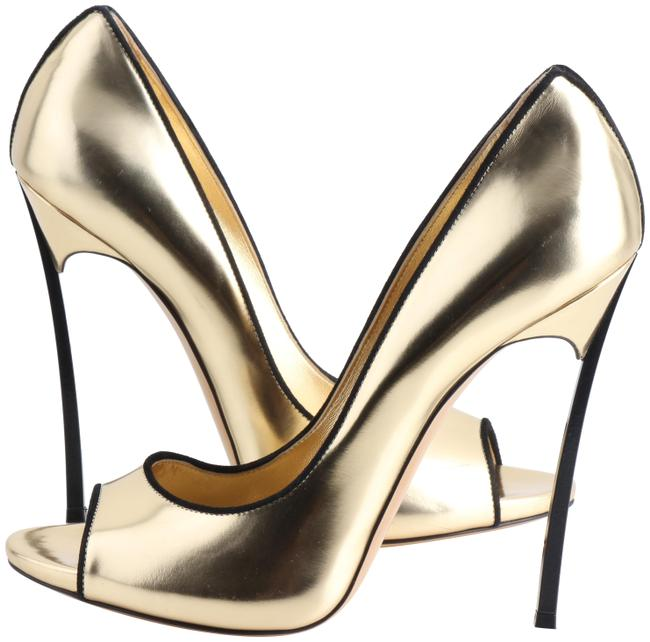 Casadei Gold Open Toe and Black Blade Heels Pumps Size US 11 Regular (M, B) Casadei Gold Open Toe and Black Blade Heels Pumps Size US 11 Regular (M, B) Image 1
