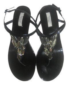 Vera Wang Simply Flat Summer Summer Black Sandals