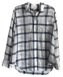 Madewell Top black and white plaid