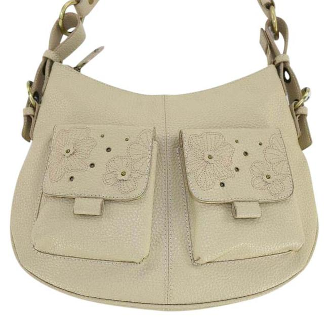 Item - Floral Cream Leather Satchel
