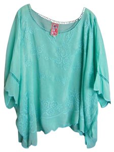 Johnny Was Rayon Embroidered Top Teal