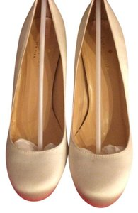 Kate Spade karolina ivory satin gold glitter heel ivory and gold Pumps