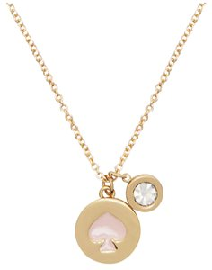 Kate Spade NWT KATE SPADE SPOT THE SPADE CHARM PENDANT NECKLACE GOLD PINK W BAG
