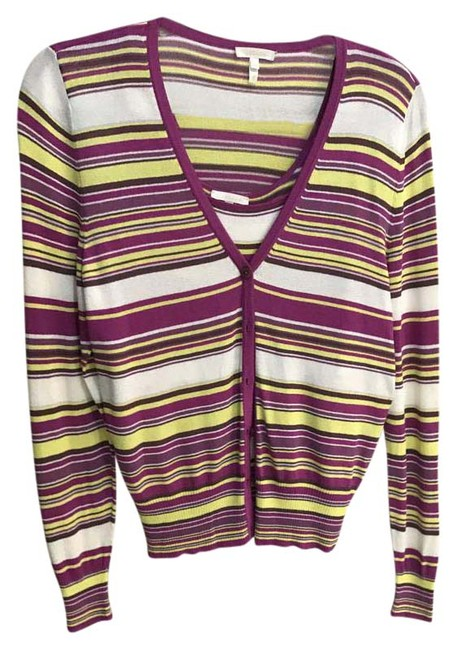 Escada Multicolor Stripped with Matching Cardigan Size 2 (XS) Escada Multicolor Stripped with Matching Cardigan Size 2 (XS) Image 1