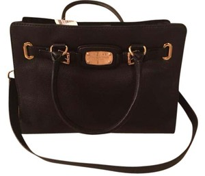 Michael Kors Faux Leather Gold Hardware Satchel in Black
