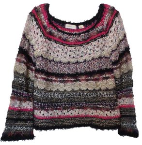Anthropologie Hand Knit Sleeping Mixed Medium Sweater