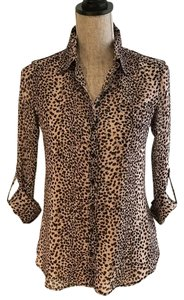 Guess Animal Print Button Down Shirt Black and Blush
