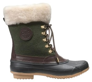 Tory Burch Winter Snow Shearling Fur Duck Green Brown Boots