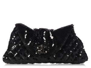 Chanel Quilted Ch.k1130.12 Evening Pleated Sequined Black Clutch