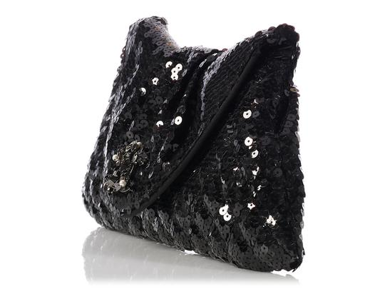 Chanel Quilted Ch.k1130.12 Evening Pleated Sequined Black Clutch Image 2