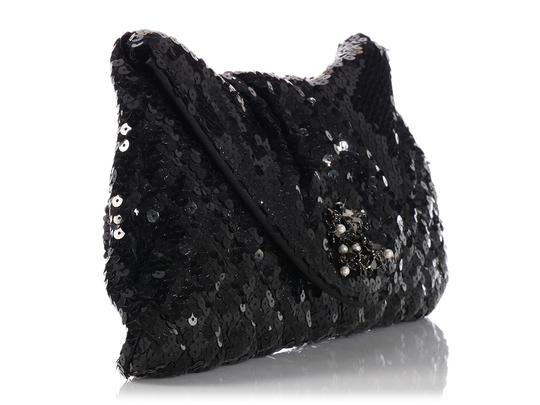 Chanel Quilted Ch.k1130.12 Evening Pleated Sequined Black Clutch Image 4