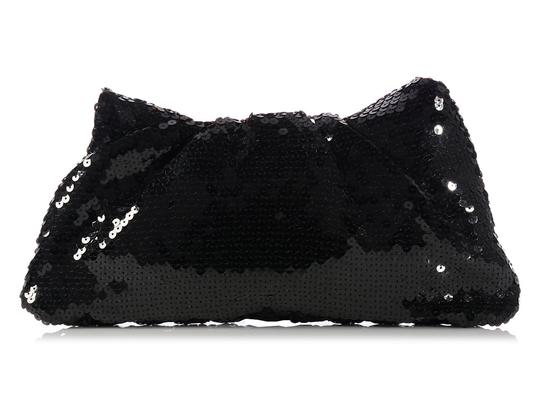 Chanel Quilted Ch.k1130.12 Evening Pleated Sequined Black Clutch Image 6