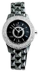 Dior VIII Black Dial Black Ceramic Diamonds Studded Ladies Watch