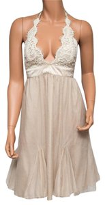 Ingwa Melero Silk Chiffon Nwt Halter Lace Dress
