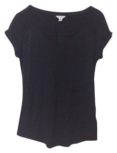 Calvin Klein Sheer Woven Knit V-neck Rayon T Shirt Black