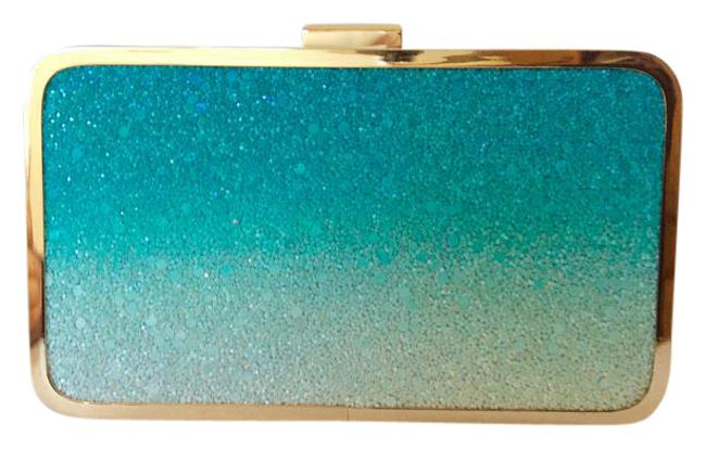Item - Ombre Box Rare Green and Gold Glitter Leather Clutch