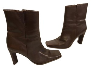Bruno Valenti High Brown leather square toe rectangle heels ankle Boots