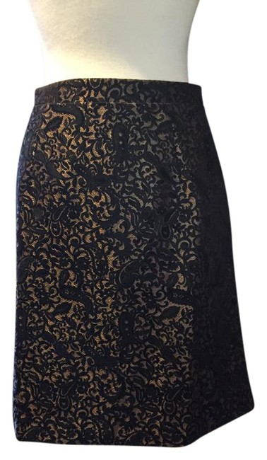 Adrienne Vittadini Brocade Gold Zip A Line Skirt BLACK Image 0