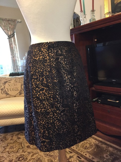 Adrienne Vittadini Brocade Gold Zip A Line Skirt BLACK Image 1