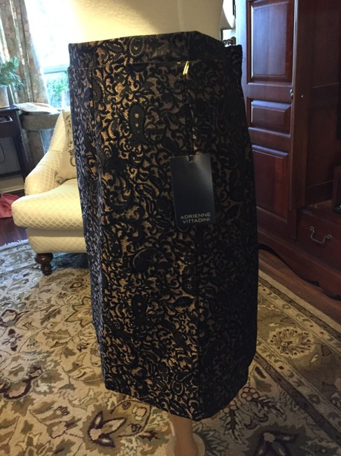 Adrienne Vittadini Brocade Gold Zip A Line Skirt BLACK Image 2