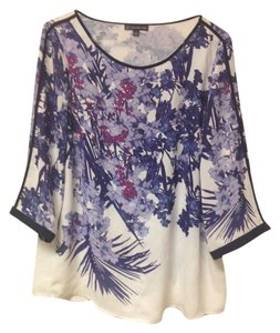 Adrianna Papell Floral Polyester Top White