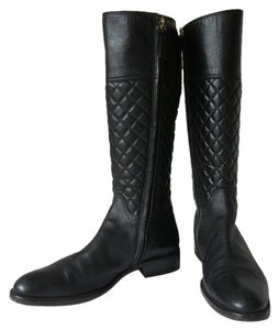 Burberry Knee-high Equestrian Leather Riding Black Boots