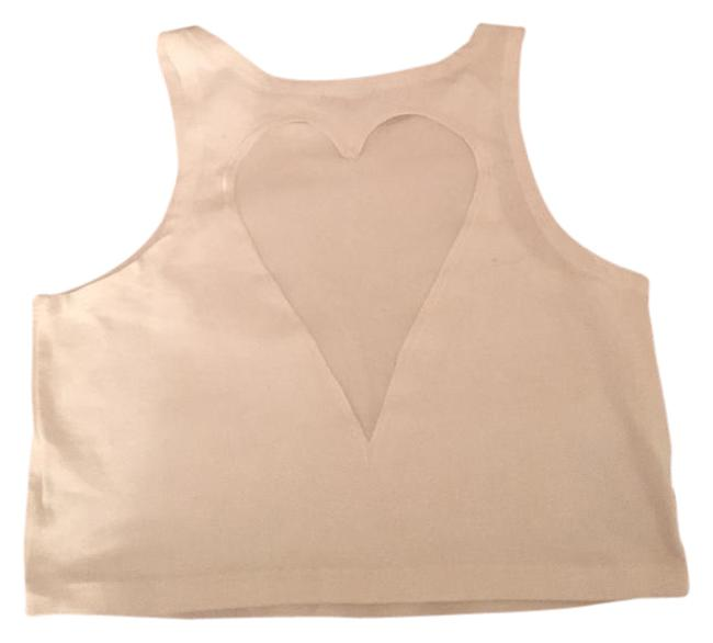 Necessary Clothing White L Heart Back Crop Tank Top/Cami Size 12 (L) Necessary Clothing White L Heart Back Crop Tank Top/Cami Size 12 (L) Image 1