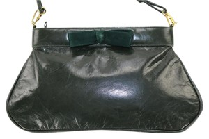 Bruno Magli Green Formal Vintage Bow Velvet Shoulder Bag