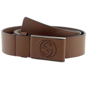 Gucci GUCCI 368188 Unisex Leather Covered Plaque Buckle Belt, Brown 95-38