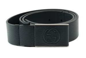 Gucci GUCCI 368188 Unisex Leather Covered Plaque Buckle Belt, Blue 90-36