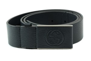 Gucci GUCCI 368188 Unisex Leather Covered Plaque Buckle Belt, Blue 100-40