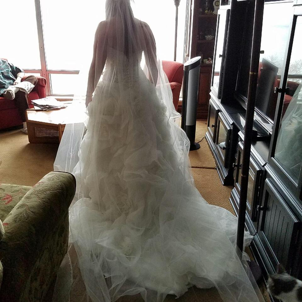 Allure Bridals Ivory/Silver Organza C170-size 12 Formal Wedding Dress Size  10 (M) 76% off retail