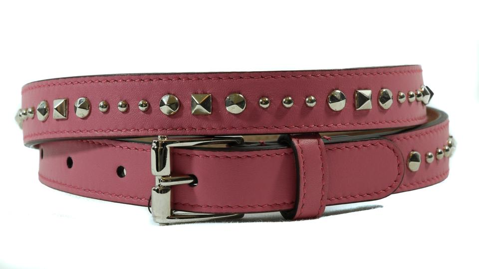 569086265 Gucci NEW GUCCI 380561 Studded Leather Belt, Pink 85-34 Image 11.  123456789101112