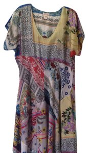 Johnny Was Silk Short Sleeve Scoop Neck Patchwork Print Dress