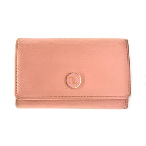Chanel chanel pink leather 6 ring key holder case wallet