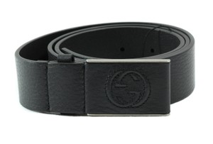 Gucci GUCCI 368188 Unisex Leather Covered Plaque Buckle Belt, Black 115-46