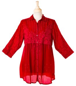Johnny Was Button Down Embroidered Empire Waist 3/4 Sleeves Rayon Tunic