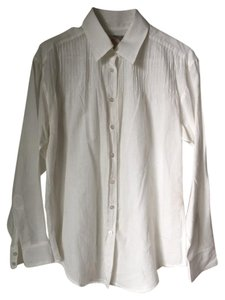 Elizabeth and James Button Up Pleated Detail Cotton Button Down Shirt White