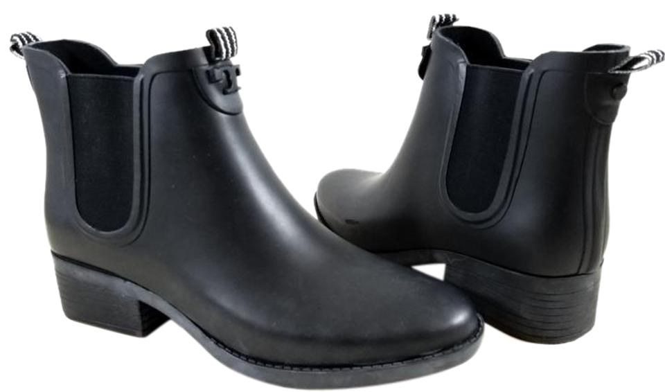 9026d706c51 Tory Burch Black Chelsea Short Rubber Rain Boots Booties Size US 11 ...