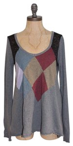 Free People Color-blocking Diamond Cut Casual Stretch T Shirt GRAY
