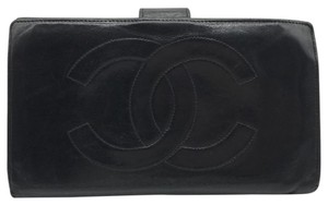 Chanel chanel black soft leather continental long clutch wallet