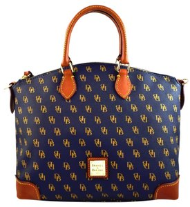 Dooney & Bourke Greta & Gold Strap Signature Satchel in Navy
